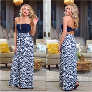 Navy bandeau maxi dress